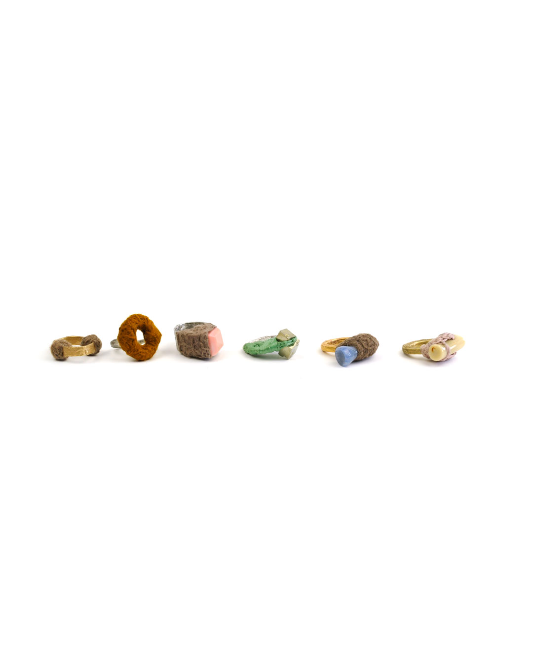 Iris Bodemer, untitled, 2004, ring set; silver, bronze, wool, raffia, stones, various dimensions, €2500