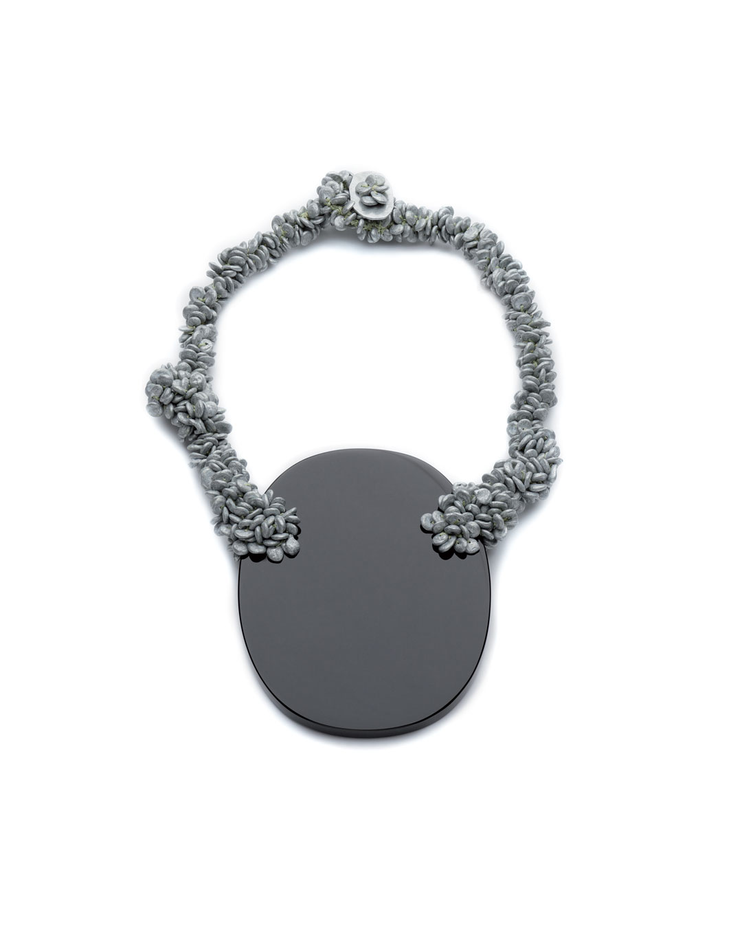 Iris Bodemer, untitled, 2008, necklace; obsidian, zinc, fishing wire, 260 x 170 x 25 mm, €3500
