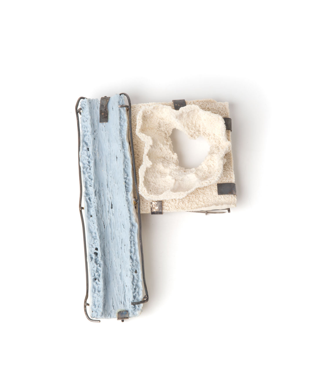 Trinidad Contreras, untitled, 2015, brooch; porcelain, oxidised silver, steel, 115 x 75 x 16 mm, €920