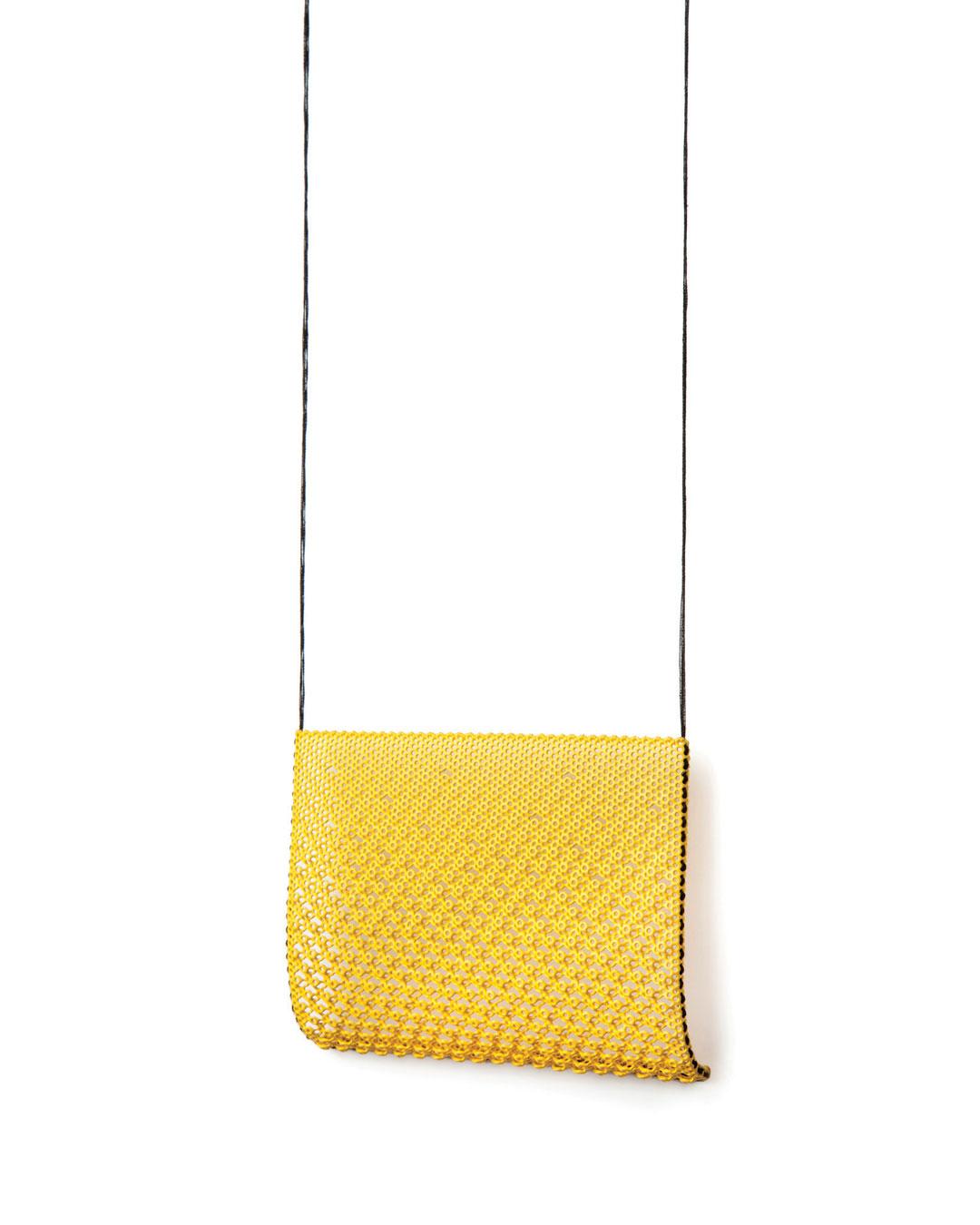 Dana Hakim, untitled, 2016, necklace; iron net, threads, paint, 275 x 100 x 15 mm, €3390