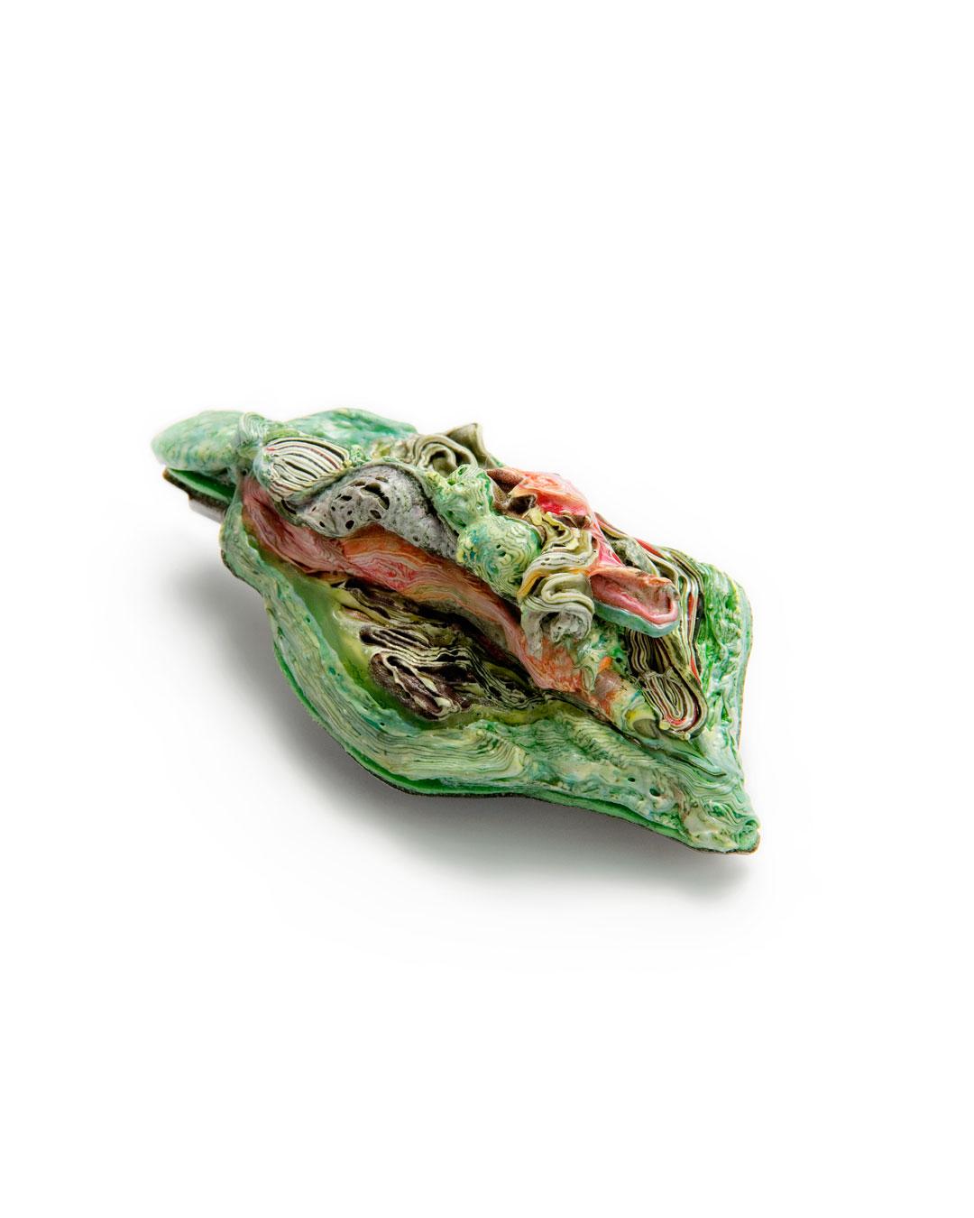 Ineke Heerkens, Lenteloof (Spring Foliage), 2011, brooch; polyethylene, stainless steel, nickel silver, 70 x 40 x 20 mm, €800