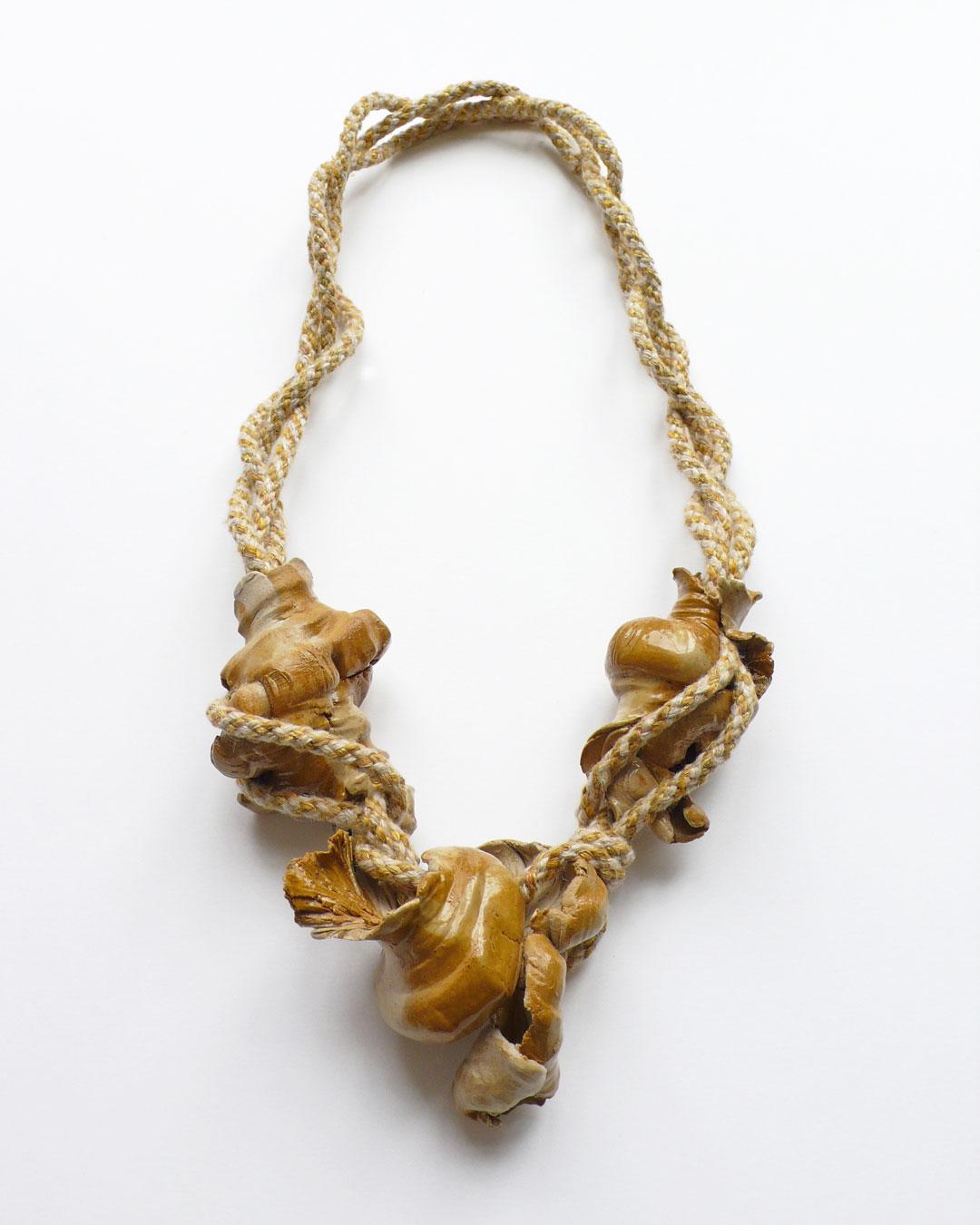 Ineke Heerkens, Vingerschelpen (Finger Shells), 2019, necklace; ceramic/stoneware, cord; linen, silk, lurex, 310 x 170 x 45 mm, €1920