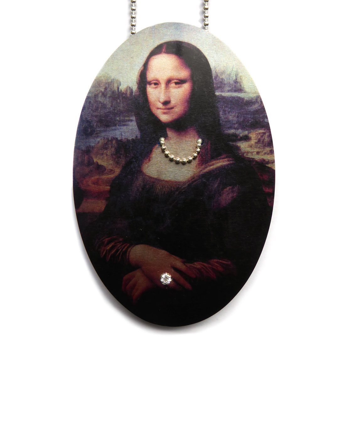 Herman Hermsen, Mona Lisa Chained, 2015, necklace; print on aluminium, wood, silver, zirconia, 320 x 60 x 10 mm, €600
