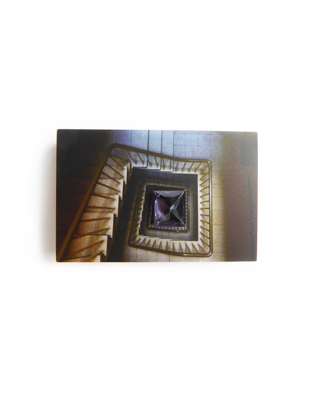 Herman Hermsen, Staircase nr. 34, 2014, brooch; print on aluminium, wood, synthetic spinel, 49 x 74 x 20 mm, €300