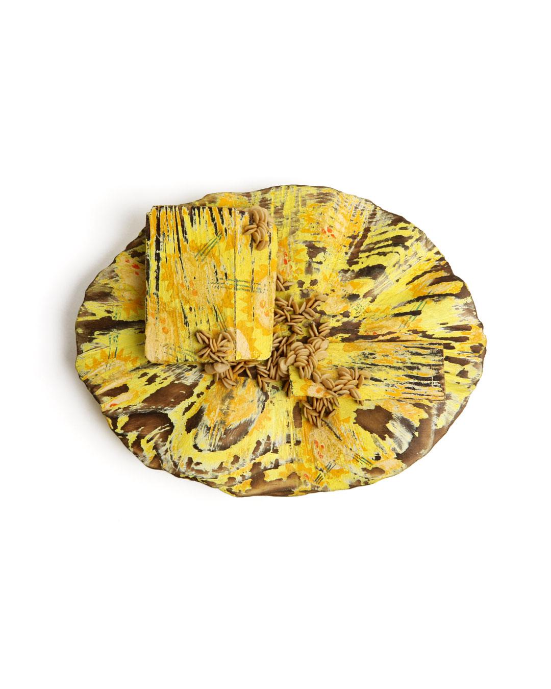Mari Iwamoto, untitled, 2013, brooch; wood, pepper seeds, paint, silver, 80 x 110 x 30 mm, €970