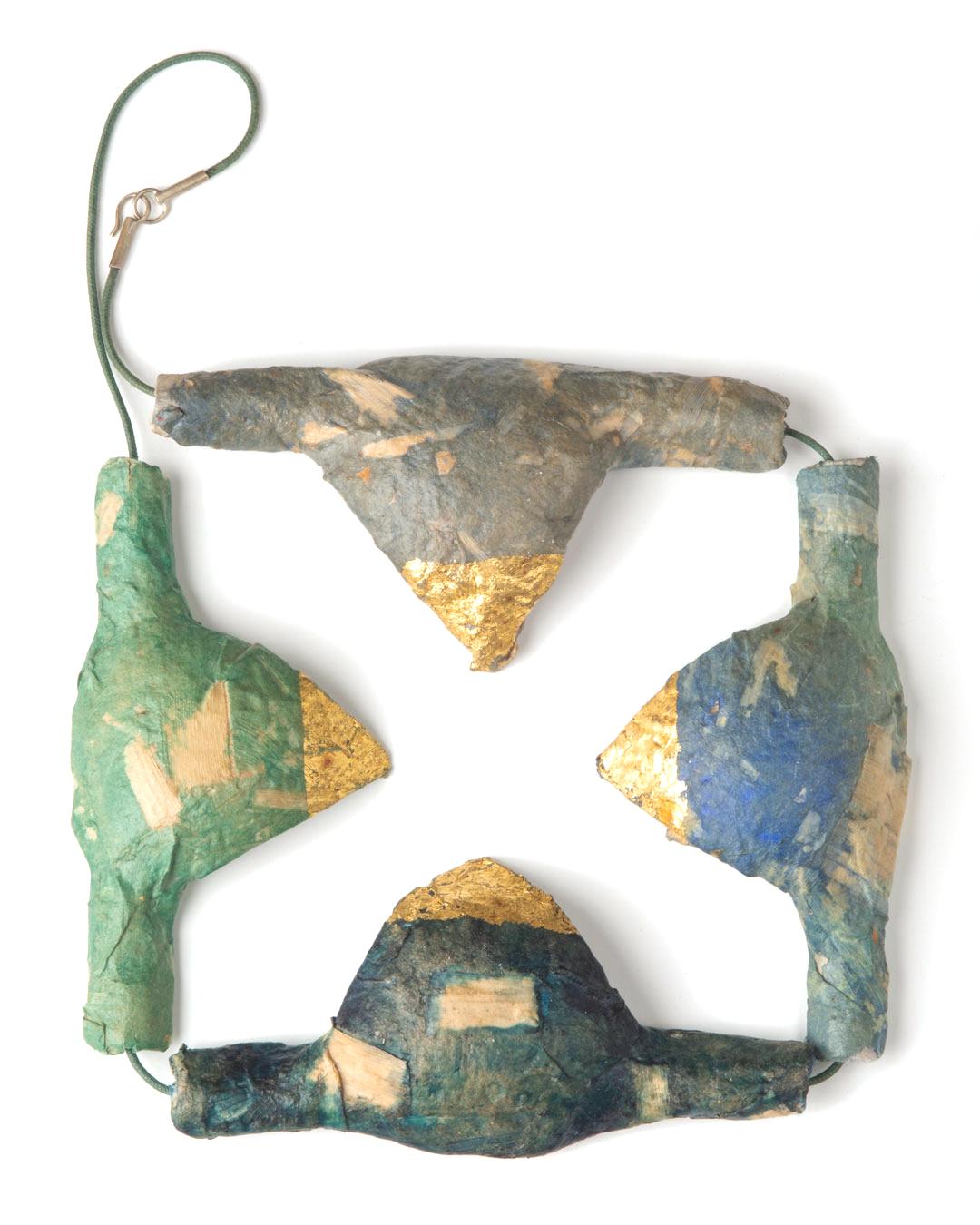 Margit Jäschke, untitled, 1991, necklace; paper, gold leaf, cord, 380 x 240 x 25, €3400