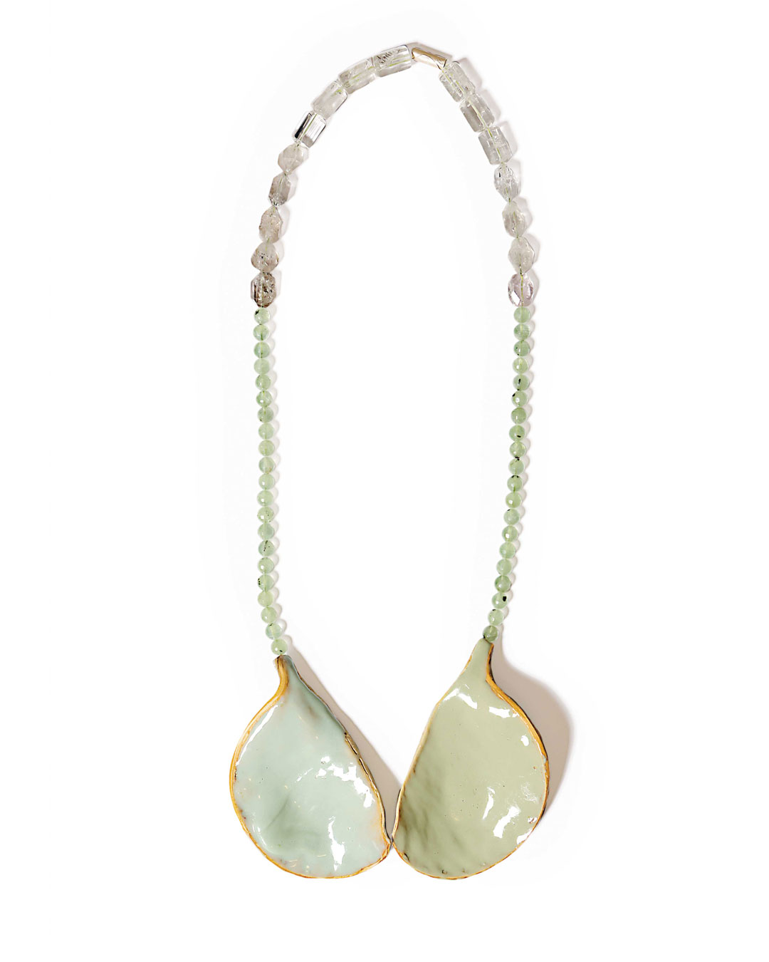 Margit Jäschke, untitled, 2012, necklace; wood, plastic, rock crystal, 480 x 155 x 35 mm, €2670