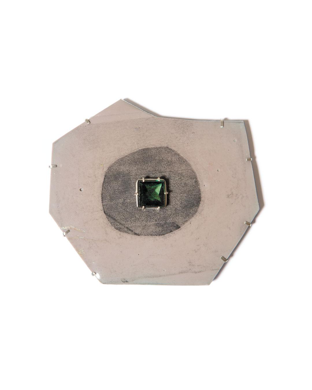 Margit Jäschke, untitled, 2013, brooch; Kapa foam board, epoxy, silver, synthetic stone, 112 x 98 x 12 mm, €1460
