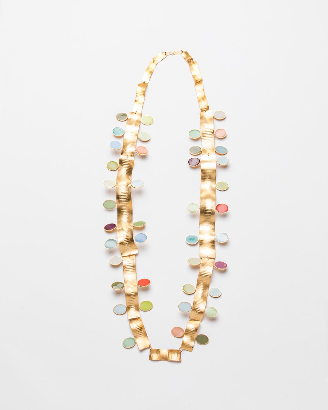 Margit Jäschke, The Golden Thread: 40 Coloured Years, 2019, necklace; gold, gold-plated silver, epoxy, 500 x 160 x 20 mm, €9700