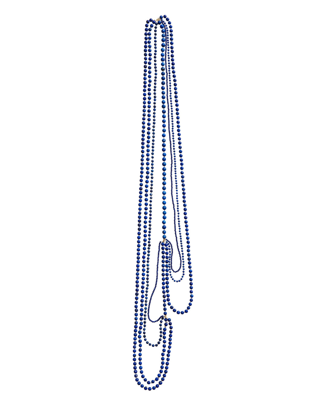 Annelies Planteijdt, Mooie stad - Blauwe water (Beautiful City - Blue Water), 2020, necklace; lapis lazuli, 18ct gold, yarn, 900 mm, €3950