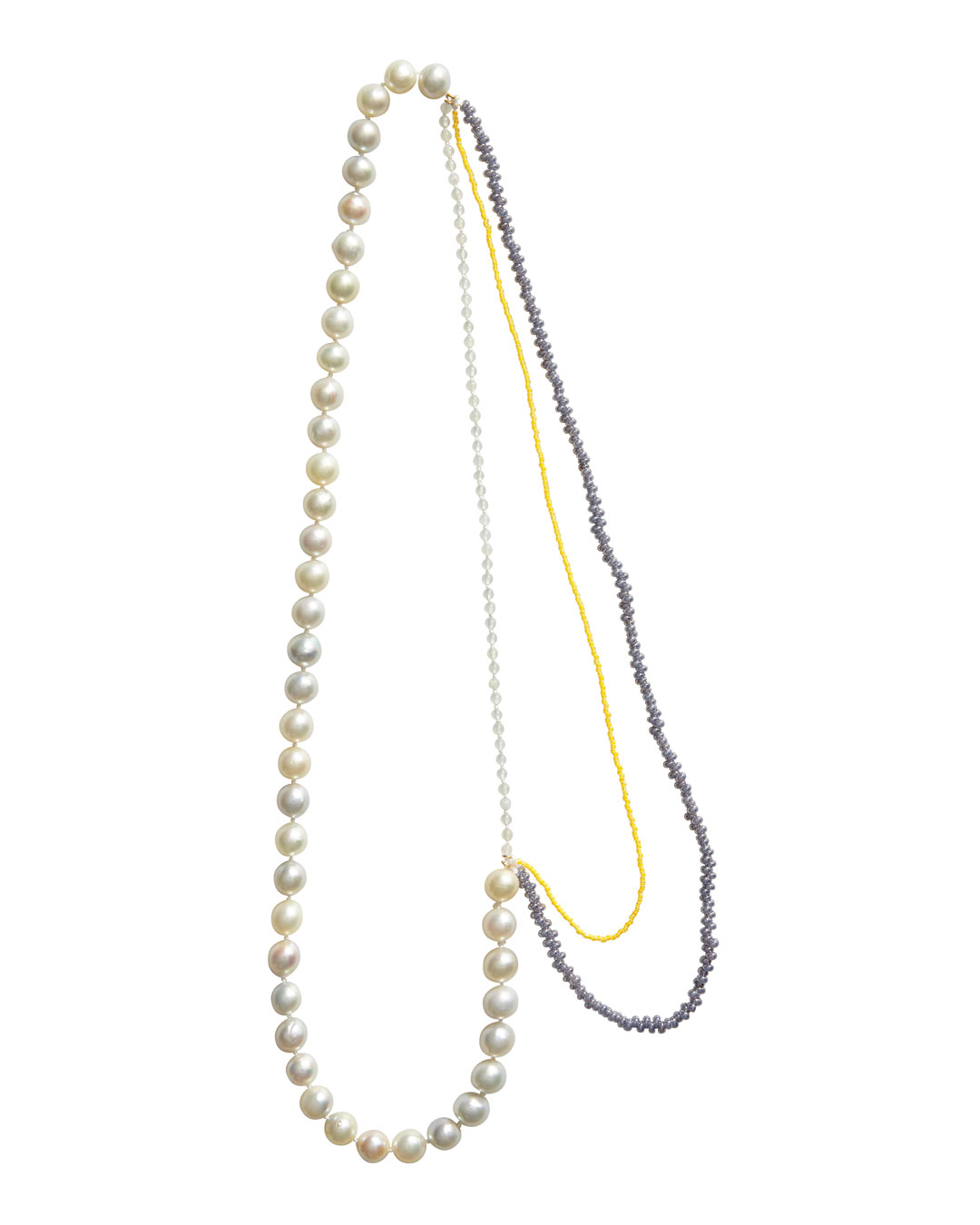 Annelies Planteijdt, Mooie stad - Gele purperen water (Beautiful City - Yellow Purple Water), 2020, necklace; Akoya pearls, jade, Japanese glass beads, gold, yarn,  630 mm, €2950