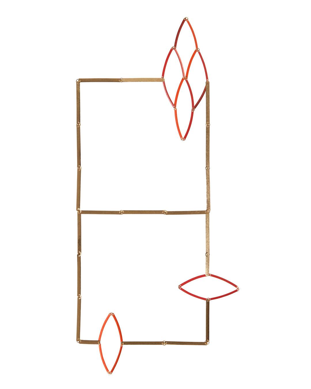 Annelies Planteijdt, Mooie stad - Rode kristallen, 2015 (1/5), halssieraad; goud, pigmenten, 630 x 120 x 6 mm, prijs op aanvraag (afbeelding 1/2)
