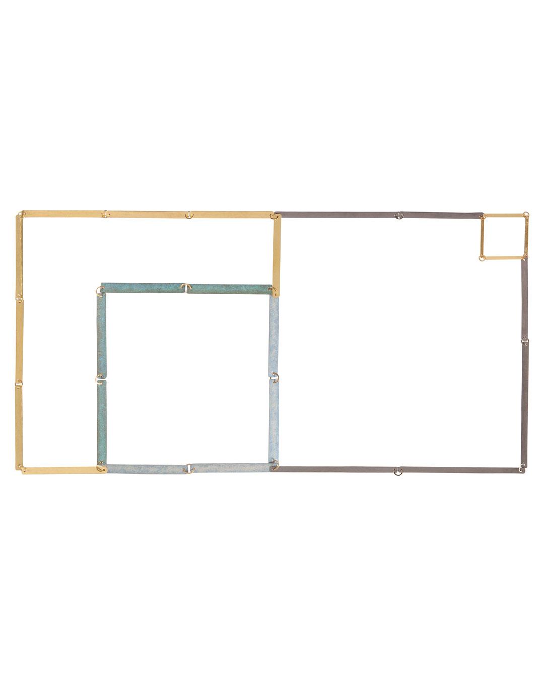Annelies Planteijdt, Mooie stad - Collier en theedoeken, 2017, ketting; goud, tantalium, titanium, pigment, 180 x 360 mm, €7450 (afbeelding 1/3)