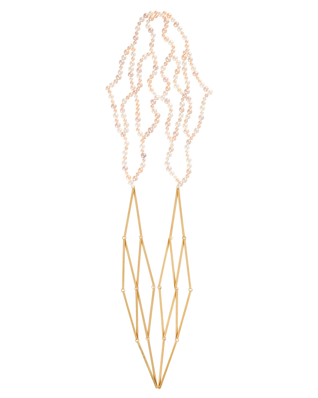 Annelies Planteijdt, Mooie stad – Collier en schelpen (Beautiful City - Necklace and Shells), 2017, necklace; gold, freshwater pearls, 90 x 450 mm, price on request (image 1/2)