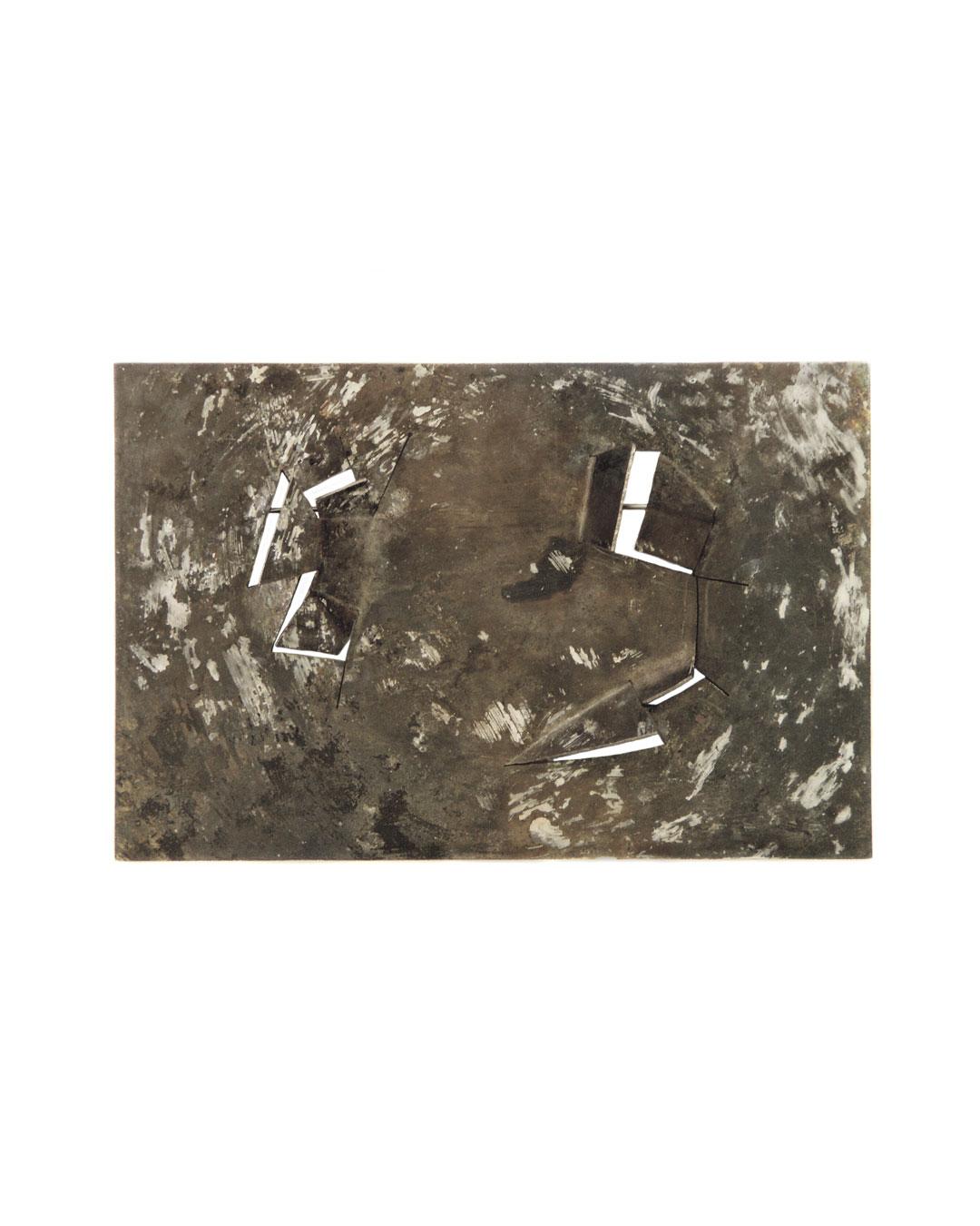 Ann Schmalwasser, Landschaft im Schnee (Landscape in Snow), 2005, brooch; titanium, paint, 110 x 73 x 7 mm, €1070