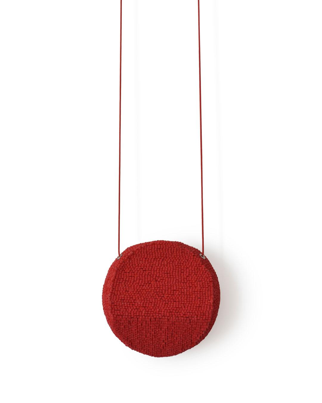 Karin Seufert, untitled, 2019, pendant; PVC, thread, 82 x 82 x 32 mm, €3400