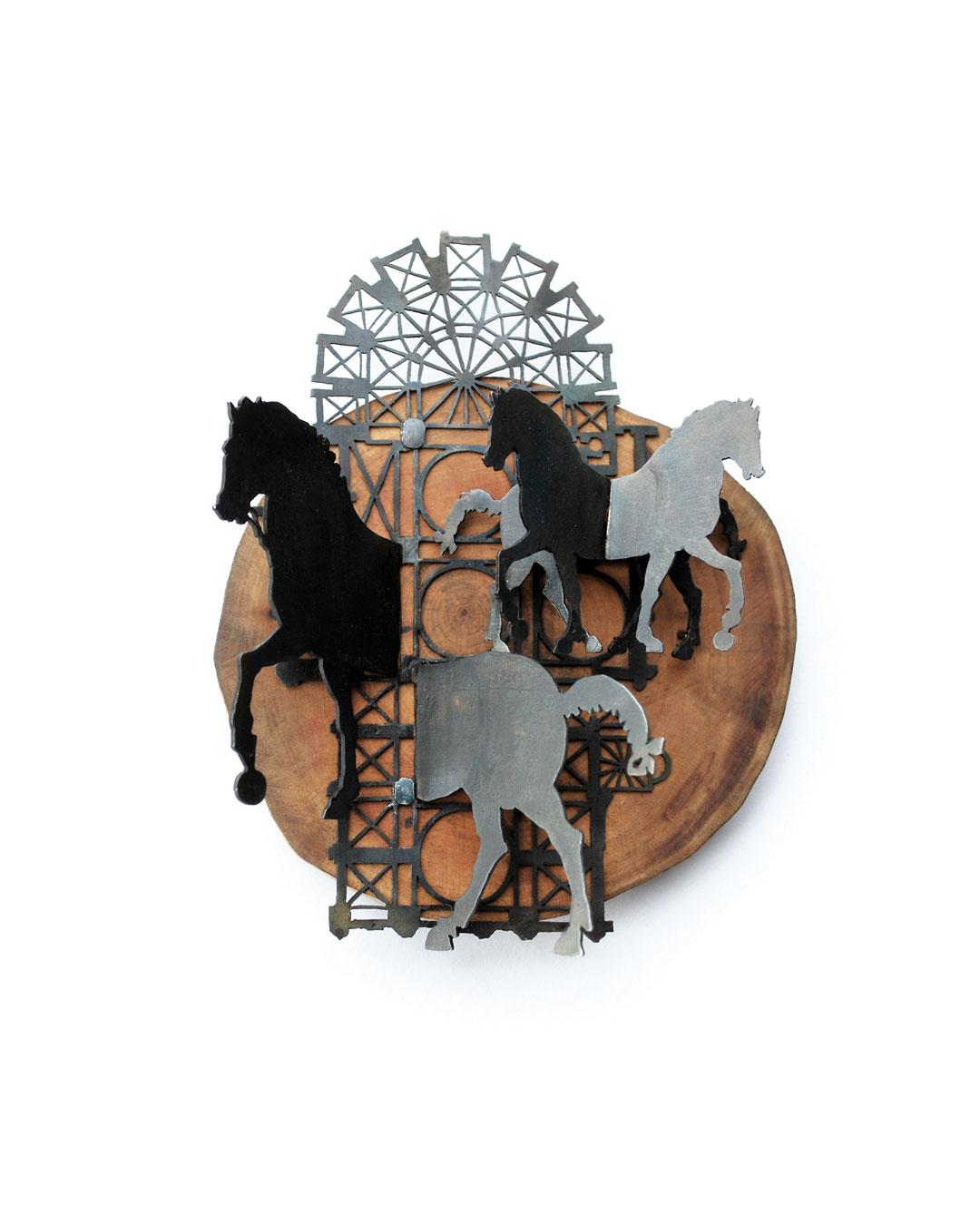 Vera Siemund, untitled, 2015, brooch; steel, wood, silver 85 x 105 x 35 mm, €1100