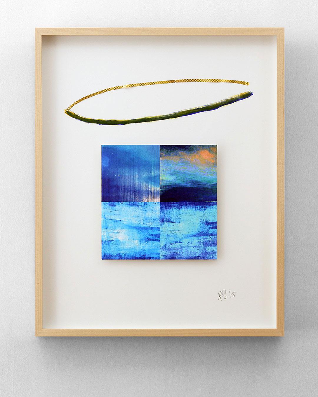 Robert Smit, Framed Sketch for Necklace, 2018, sketch; gold, paint, ink on canvas, 400 x 500 mm, €6000