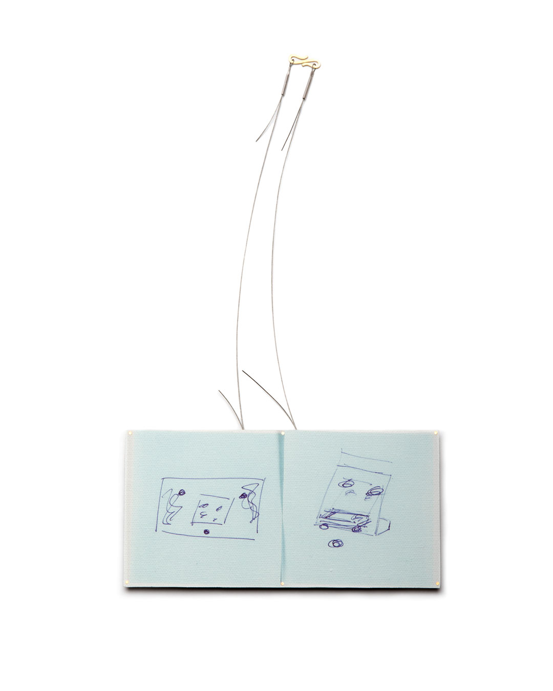 Robert Smit, Design for the Next Piece, 2019, necklace; photo of a drawing on canvas on tinplate, steel, silver, gold, 160 x 80 x 8 mm, €2900