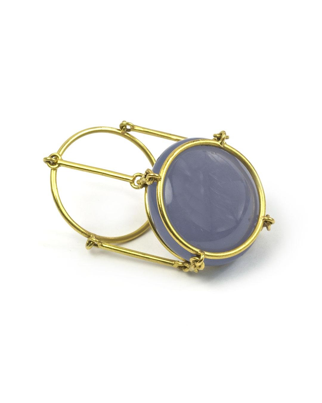 Etsuko Sonobe, untitled, 2006, ring; 20ct gold, blue chalcedony, 28 x 20 mm, €1550