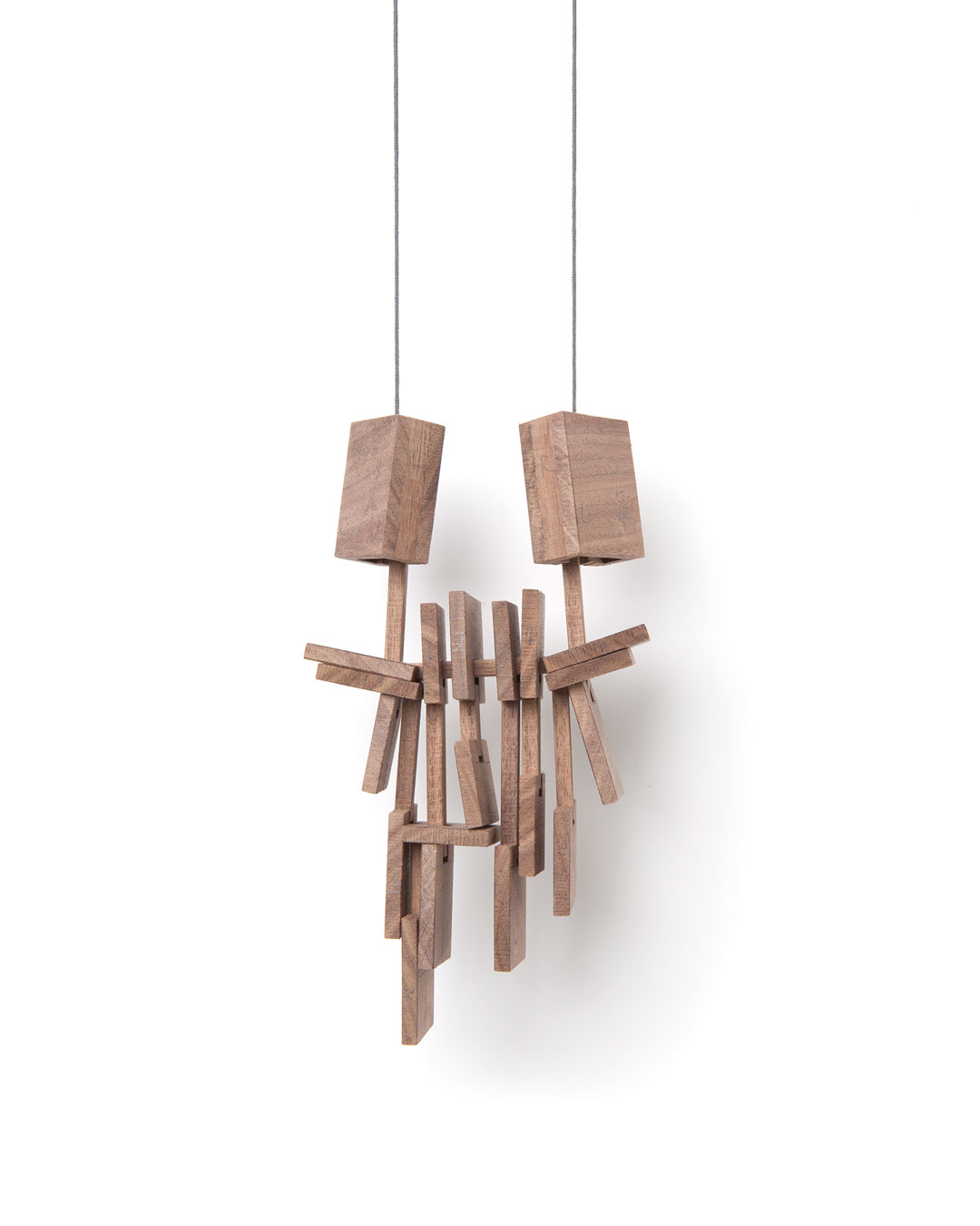 Despo Sophocleous, Momentarily Displaced 1, 2015, necklace; walnut, steel, cotton, 180 x 95 x 30 mm, €1700