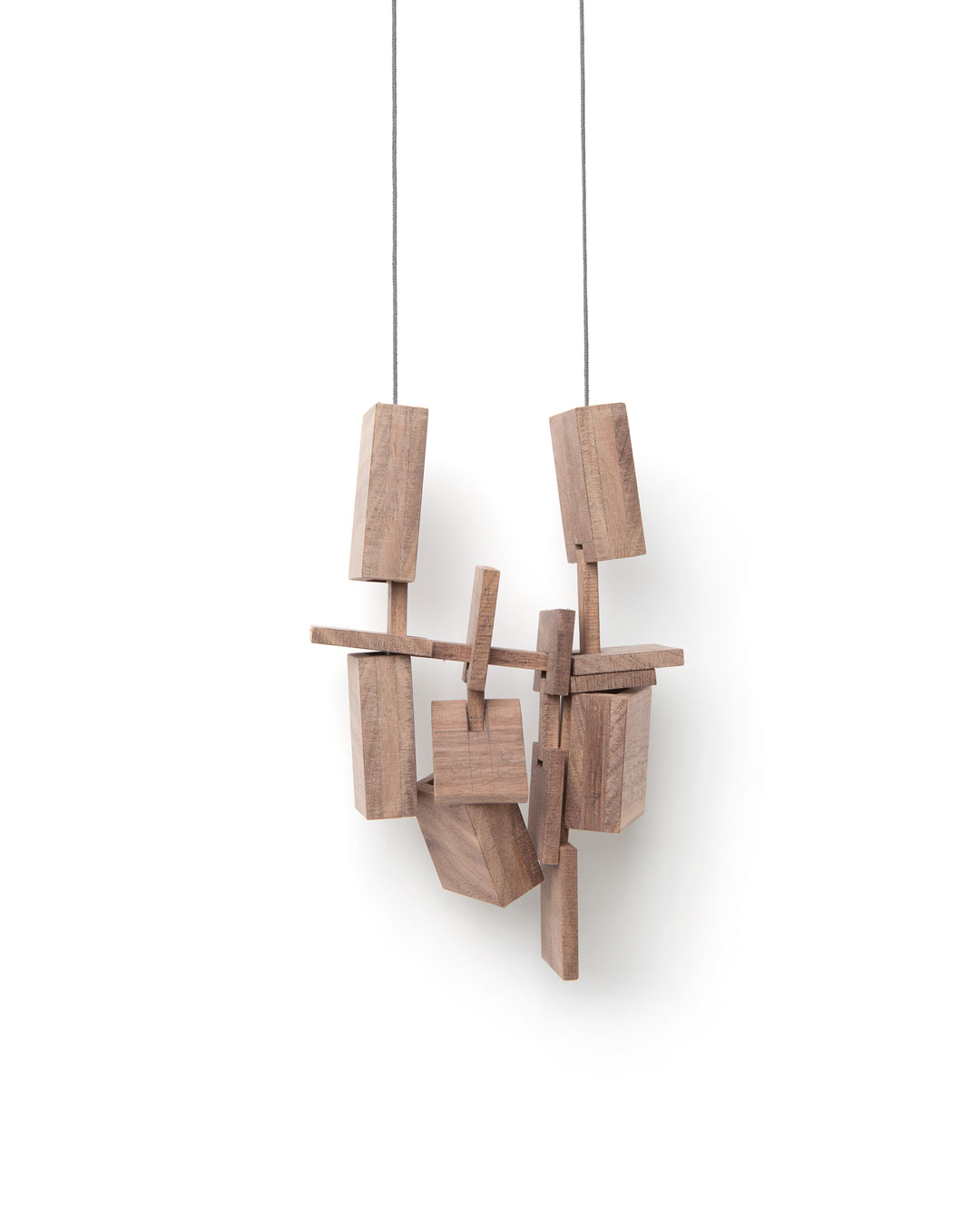 Despo Sophocleous, Momentarily Displaced 2, 2015, necklace; walnut, steel, cotton, 170 x 105 x 35 mm, €1700