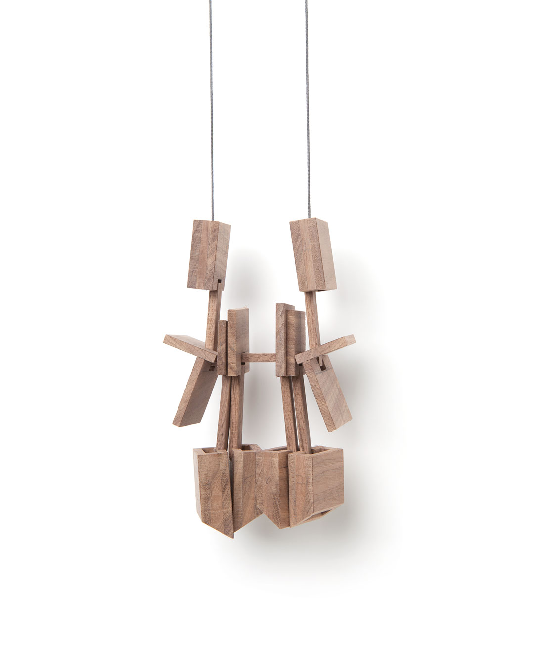 Despo Sophocleous, Momentarily Displaced 4, 2015, necklace; walnut, steel, cotton, 165 x 95 x 35 mm, €1700