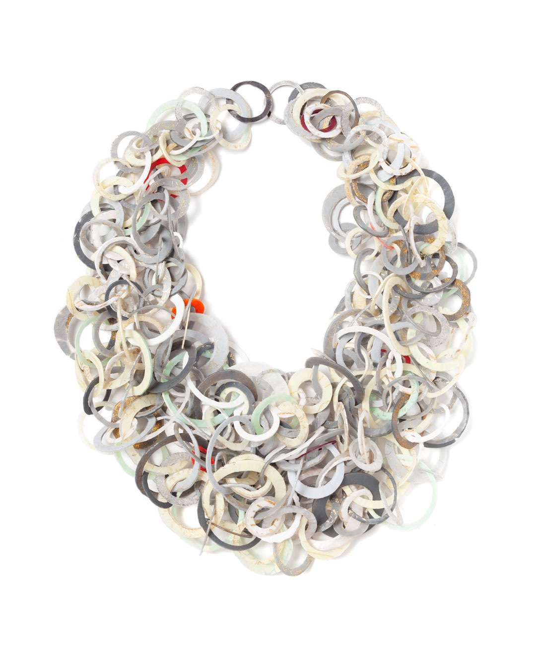 Karola Torkos, Entwined, 2020, necklace; plastic, glitter, oxidised silver, 300 x 240 mm, sold