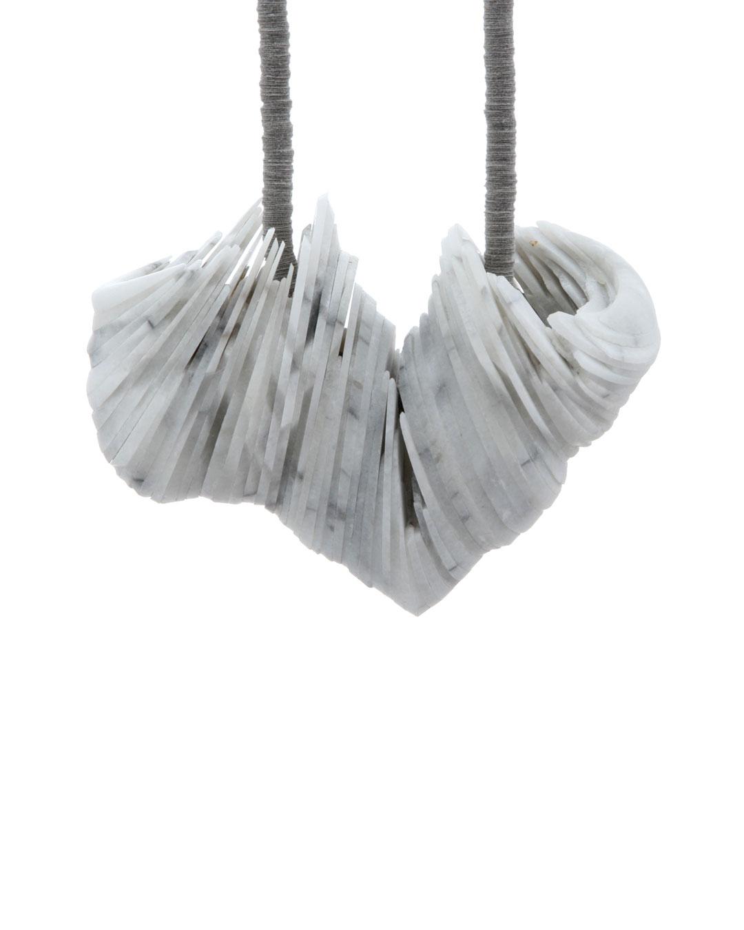 Tarja Tuupanen, untitled, 2015, necklace; ready-made marble tableware, velour sticker, steel wire, brass, 450 x 100 x 40 mm, €1700