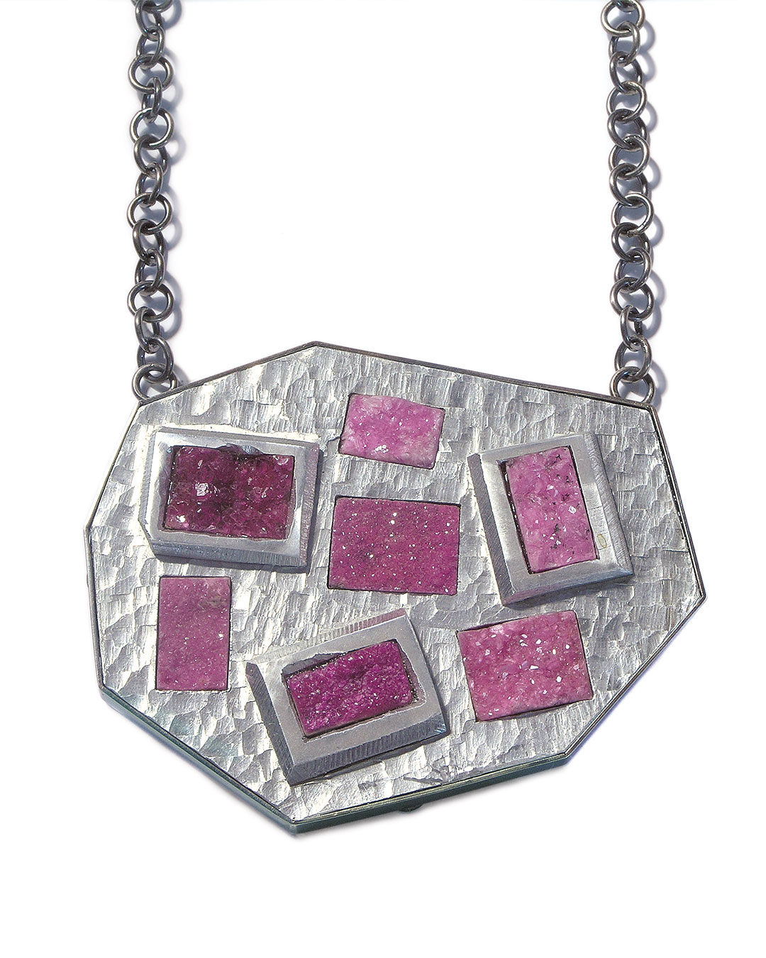 Sybille Richter, Heide (Heath), 2009, necklace; aluminium, 935 silver, calcite, 75 x 60 x 7 mm, €970
