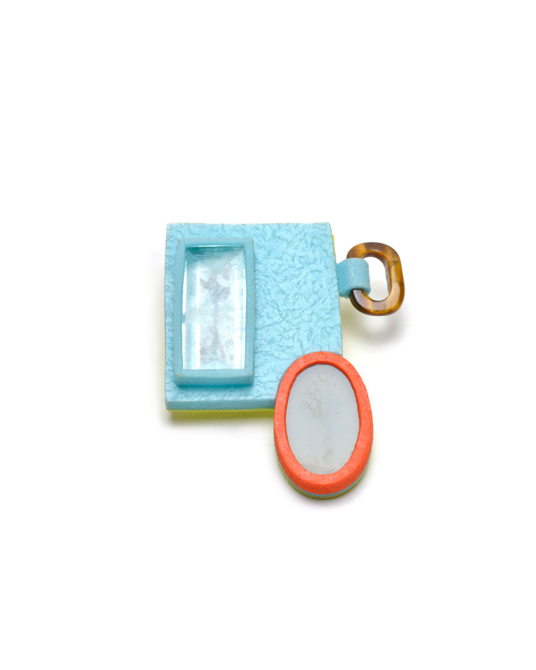 Ute Eitzenhöfer, Greetings from Idar-Oberstein 20, 2007, brooch; aquamarine, tiger's eye, agate, plastic (from packaging), 68 x 53 x 20 mm, €3000