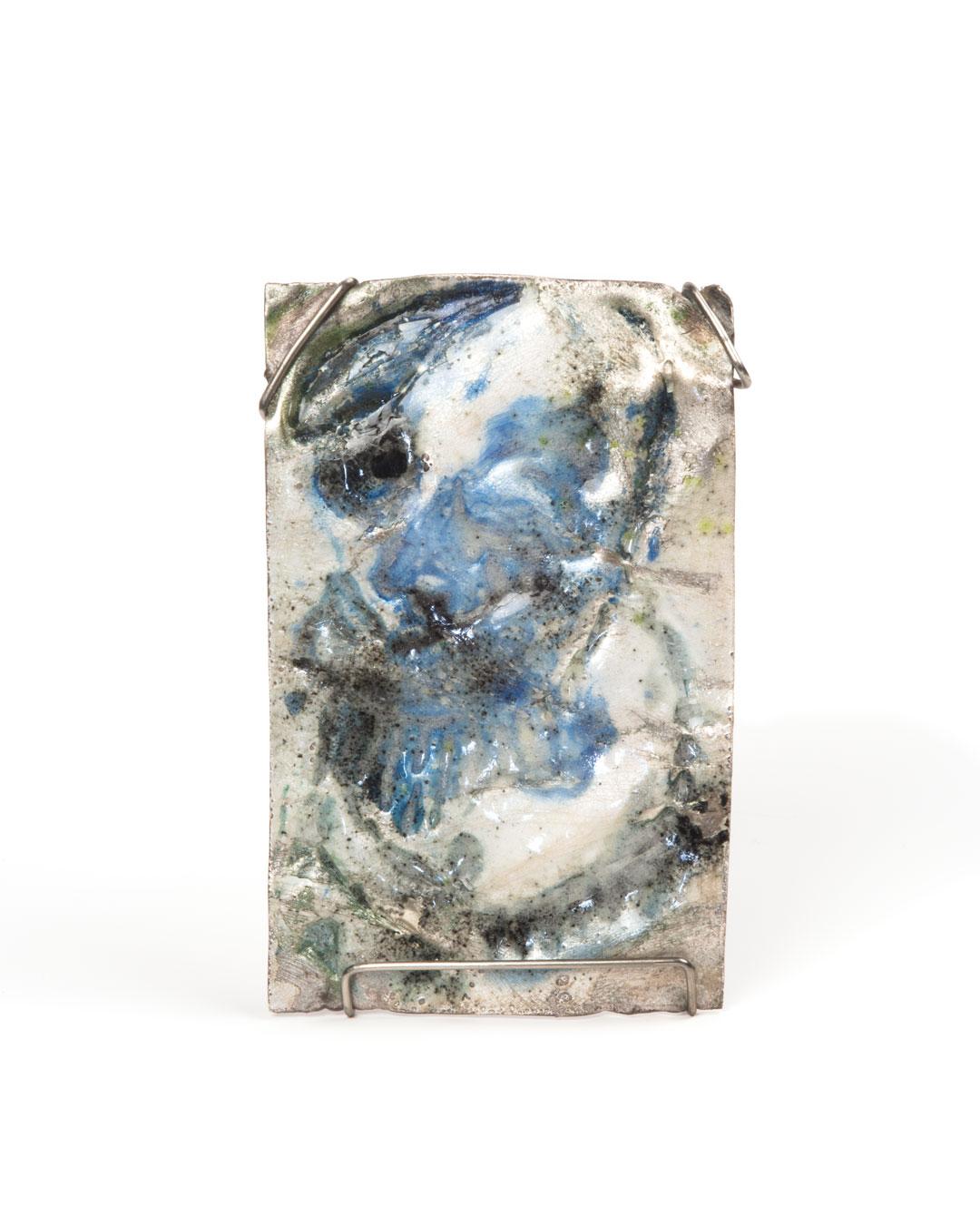 Rudolf Kocéa, Aristo, 2019, brooch; fine silver, enamel, stainless steel, 60 x 92 x 10 mm, €1500