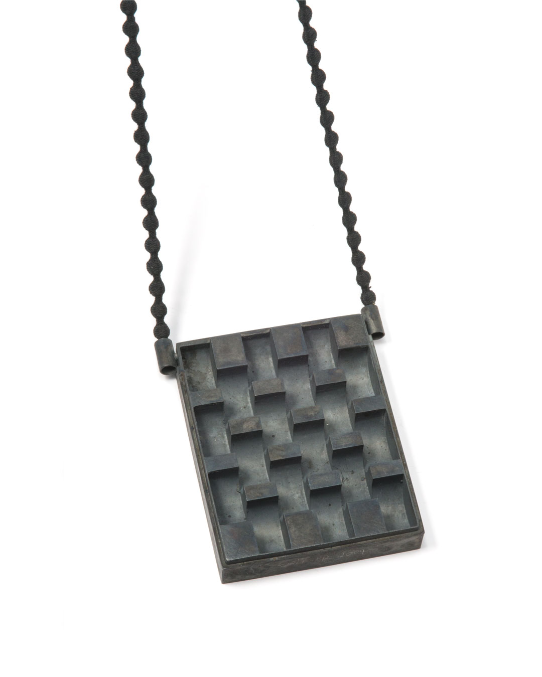 Winfried Krüger, untitled, 2009, necklace; oxidised silver, lead strapping, textile, element 80 x 100 mm, €2920