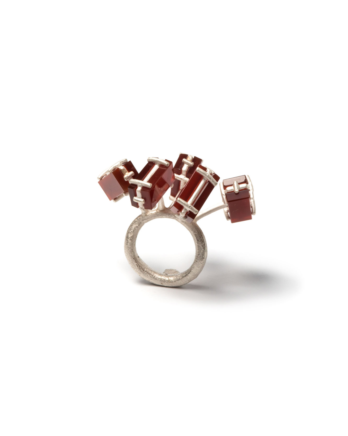 Winfried Krüger, untitled, 1997, ring; oxidised silver, stones, 55 x 40 mm, €1090