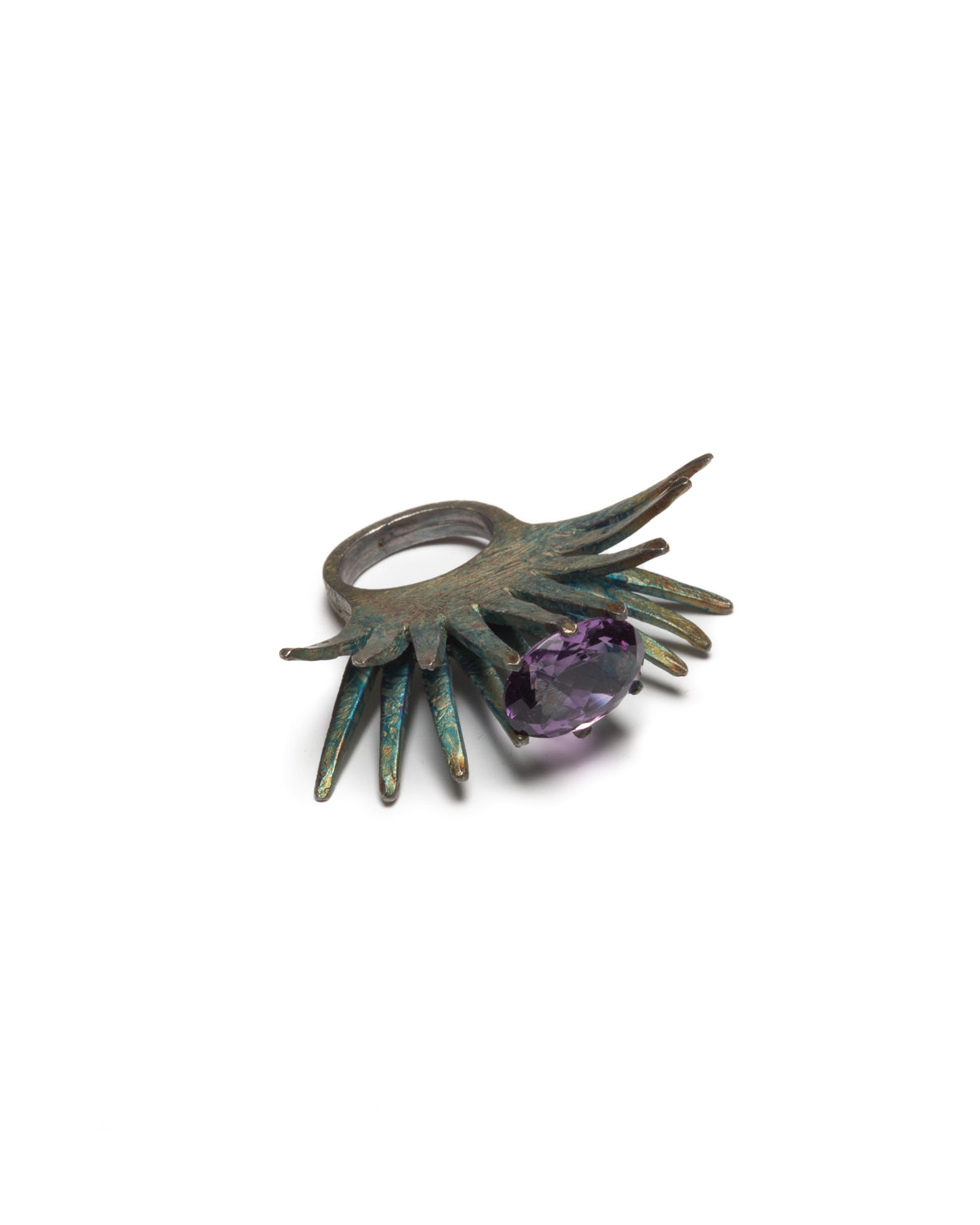 Winfried Krüger, untitled, 1994, ring; oxidised silver, amethyst, 47 x 55 mm, €1700