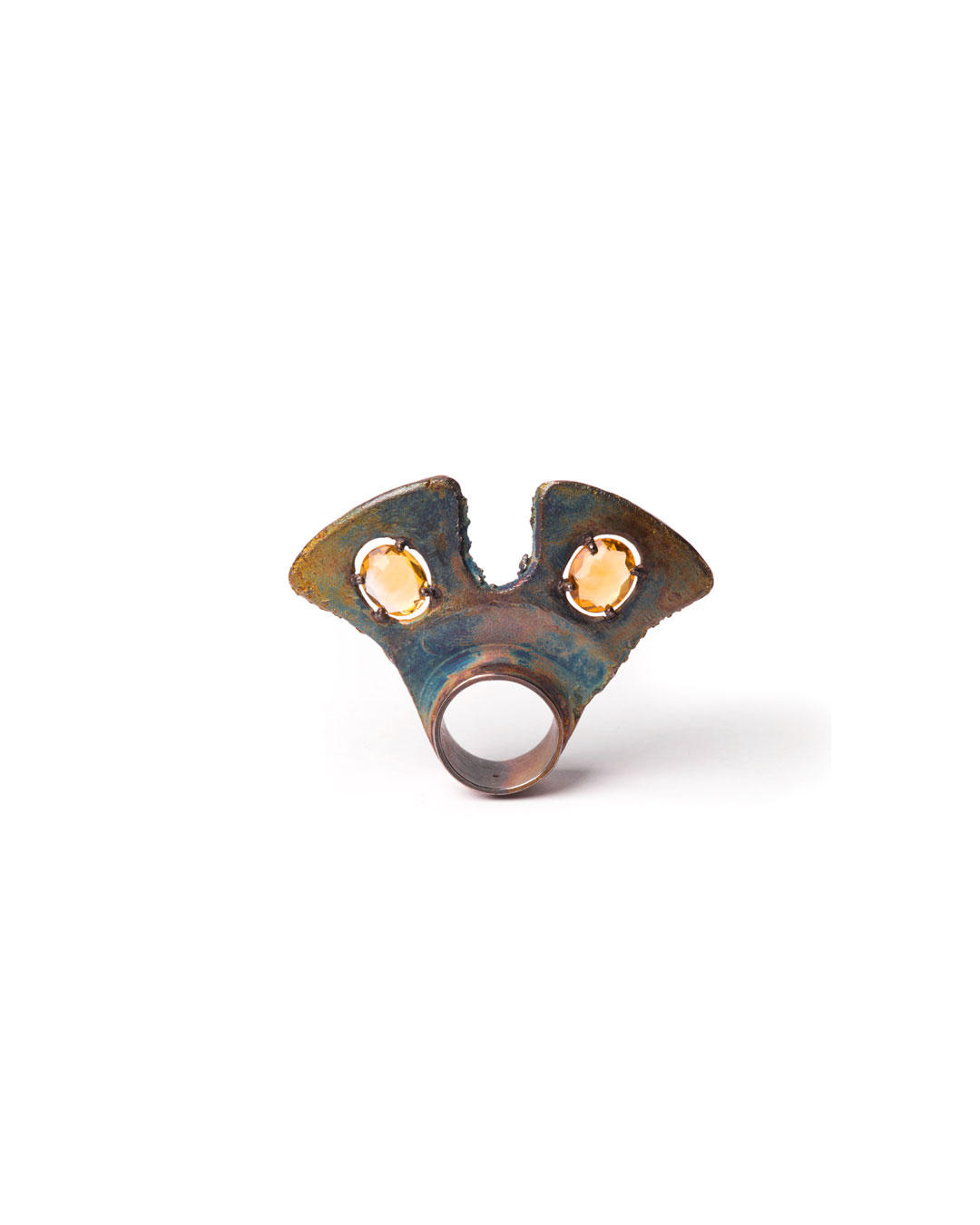 Winfried Krüger, untitled, 1996, ring; oxidised silver, citrine, 70 x 50 mm, €1335