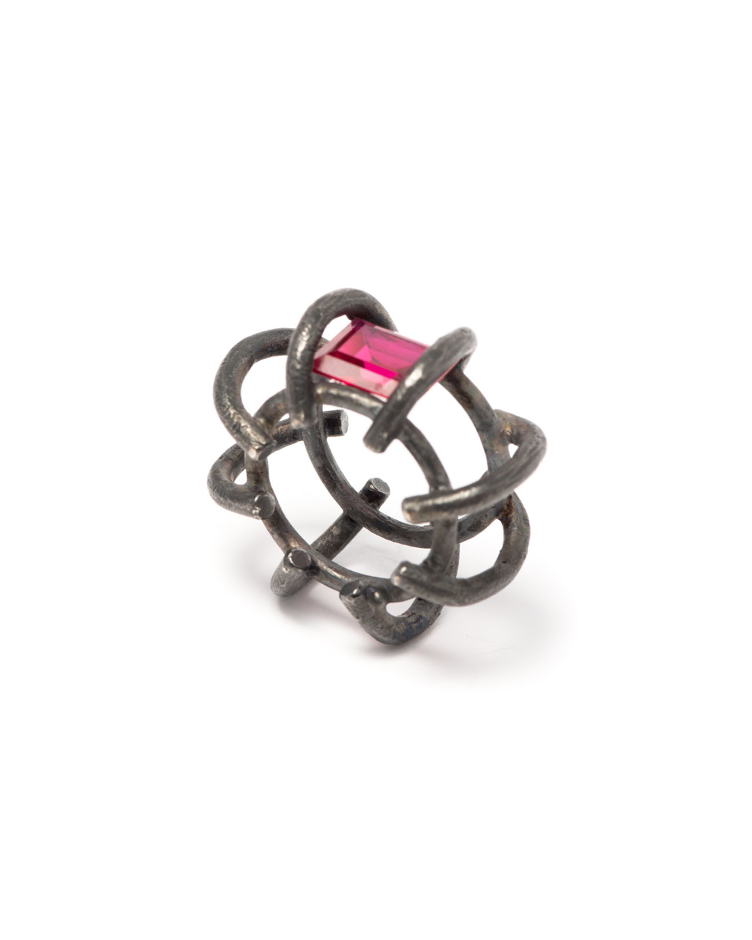 Winfried Krüger, untitled, 1996, ring; oxidised silver, synthetic ruby, ø 40 mm, €970