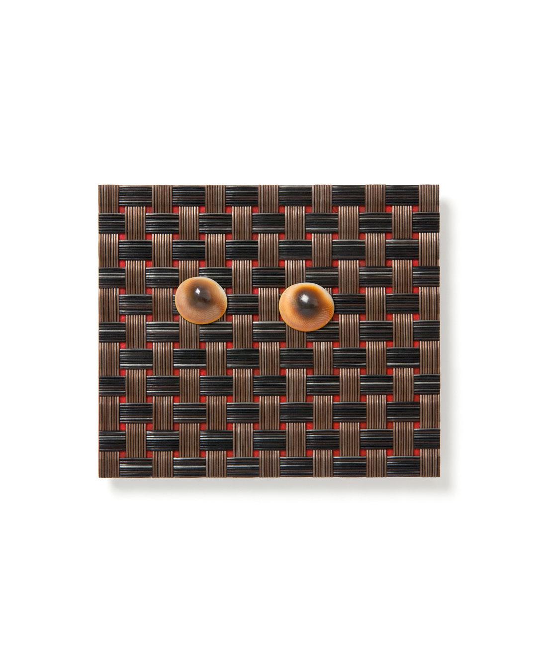 Otto Künzli, Quidam XVIII, 2019, brooch; Corian, plastic, operculum, acrylic paint, steel, 75 x 87 mm, €3900