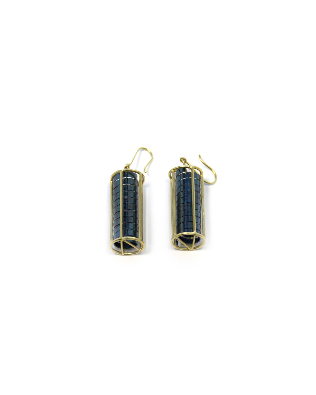 Okinari Kurokawa, untitled, 2013, earrings; 18ct gold, stainless steel, 39 x 13 x 13 mm