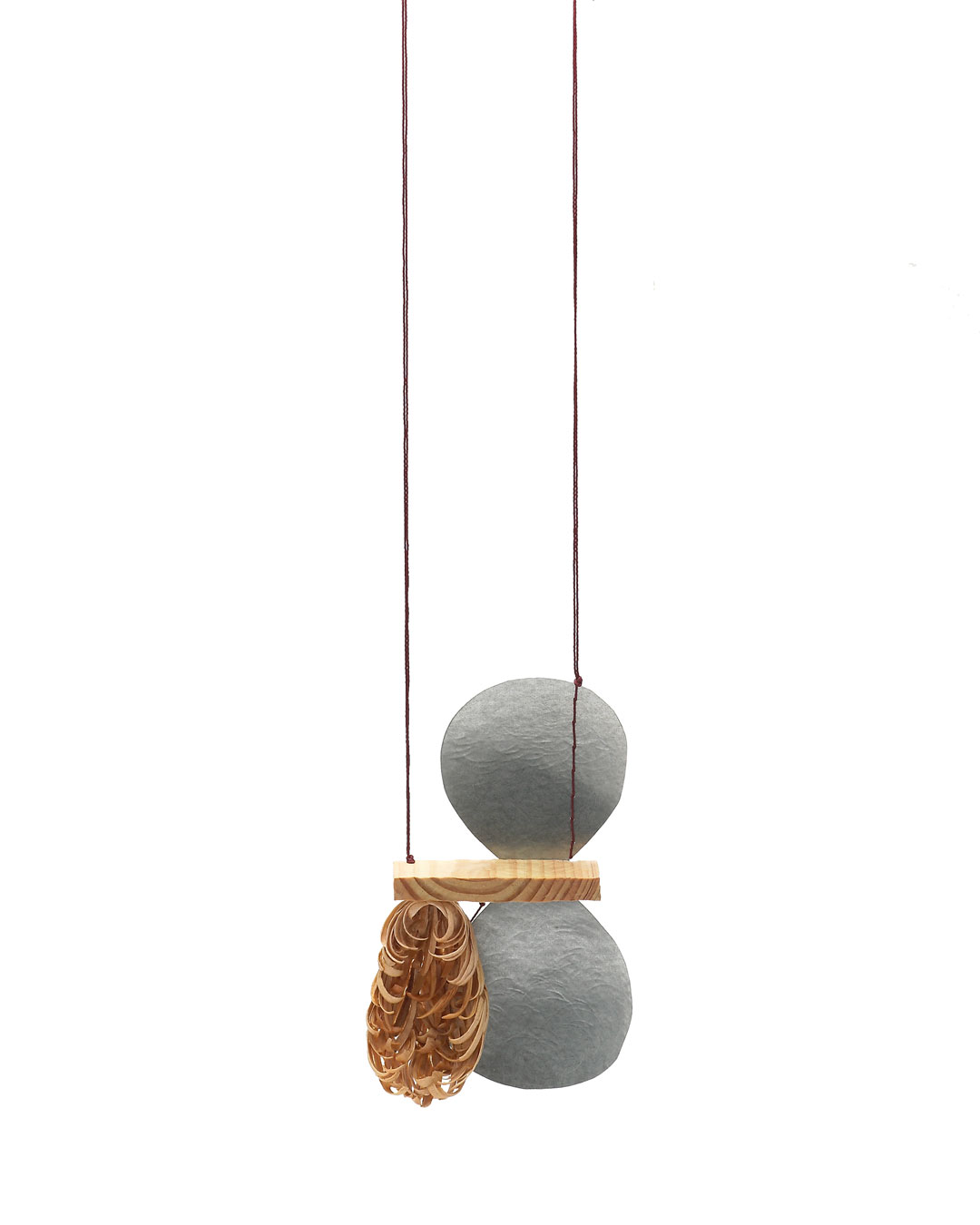 Dongchun Lee, Flourish Wither, 2014, necklace; wood, string, galvanised steel, nickel silver, 110 x 170 x 35 mm, €2060