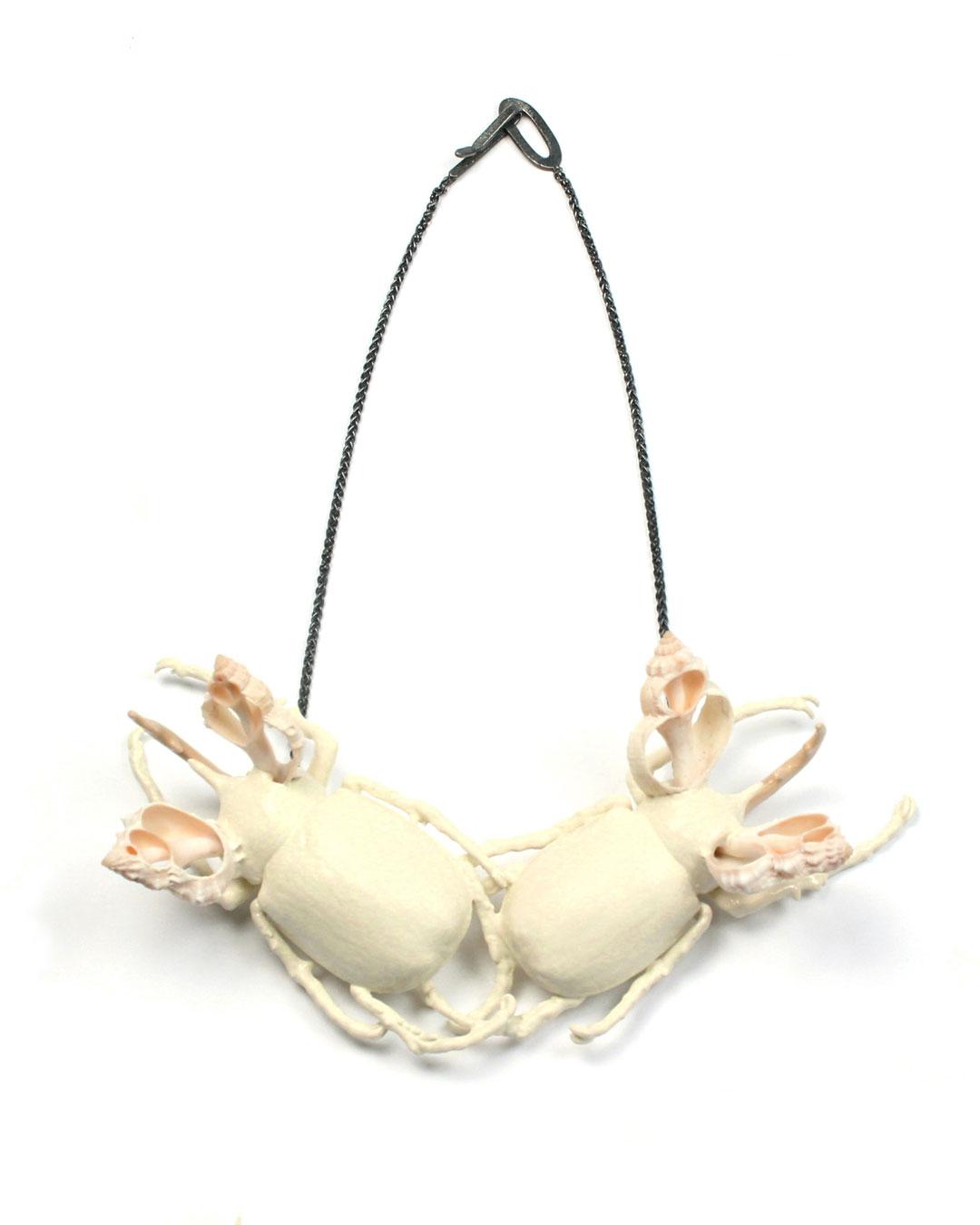 Märta Mattsson, Mermaids, 2019, necklace; beetles, copper, lacquer, resin, seashells, silver, 200 x 250 x 60 mm, €3150