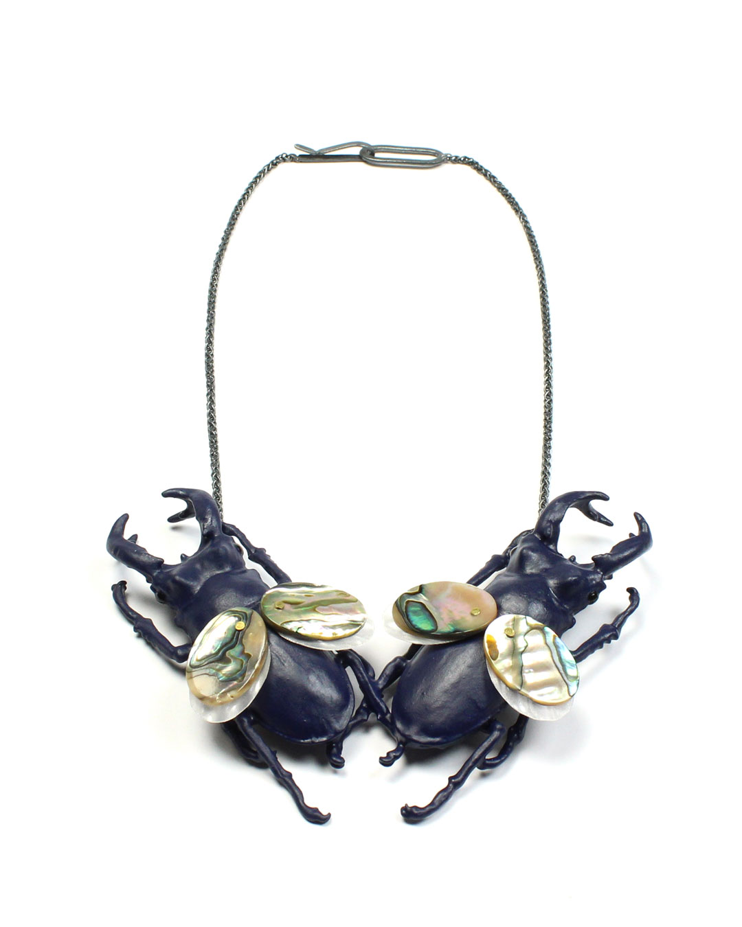 Märta Mattsson, Mermen, 2019, necklace; beetles, copper, lacquer, resin, shells, plastic, silver, 140 x 250 x 30 mm, €3050