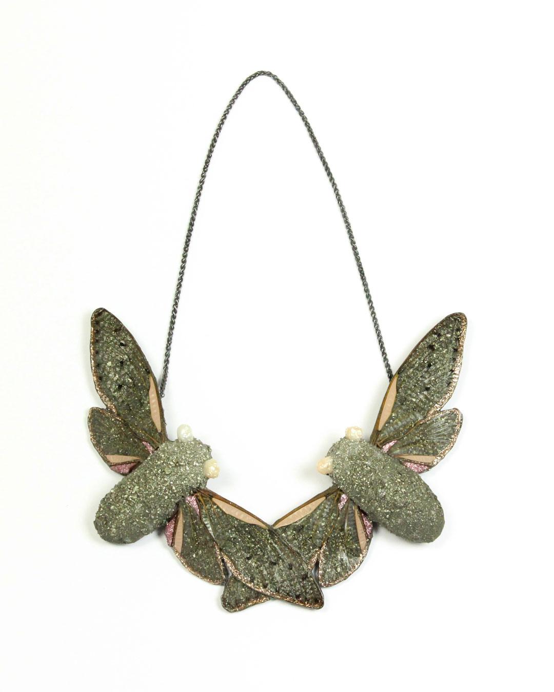 Märta Mattsson, Eyes Like Pearls, 2019, necklace; cicadas, pyrite, pearls, resin, lacquer, silver, 350 x 200 x 40 mm, €2920