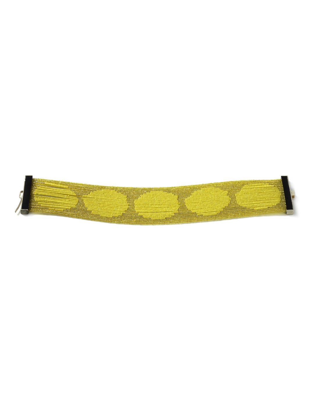 Julie Mollenhauer, untitled, 2012, bracelet; glass beads, horn, gold, 40 x 190 x 4 mm, €2520