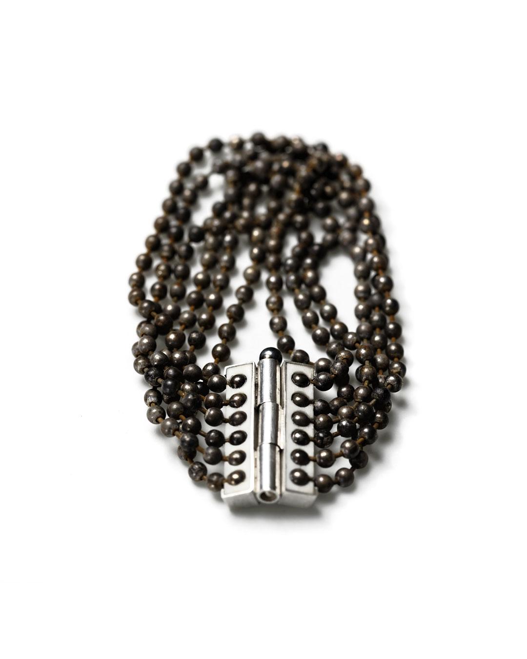 Julie Mollenhauer, untitled, 2015, bracelet; iron, silver, bone, 70 x 32 x 4 mm, €1080