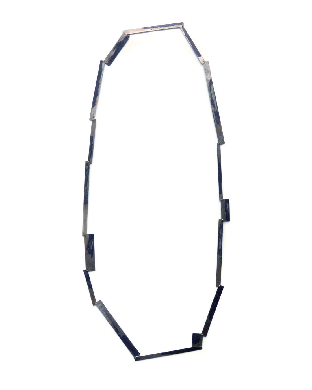 Graziano Visintin, untitled, 2000, necklace; white gold, niello, 420 x 120 mm, price on request