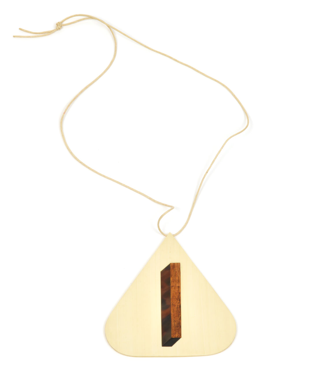 Julia Walter, Box 2, 2014, pendant; Galalith, oak wood, cotton string, 130 x 130 x 5 mm, €1980