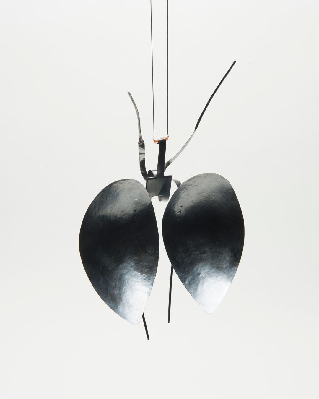 Andrea Wippermann, Mantis Religiosa, 2018, pendant; blackened silver, stainless steel, beads, nylon, 240 x 160 x 50 mm, €3400
