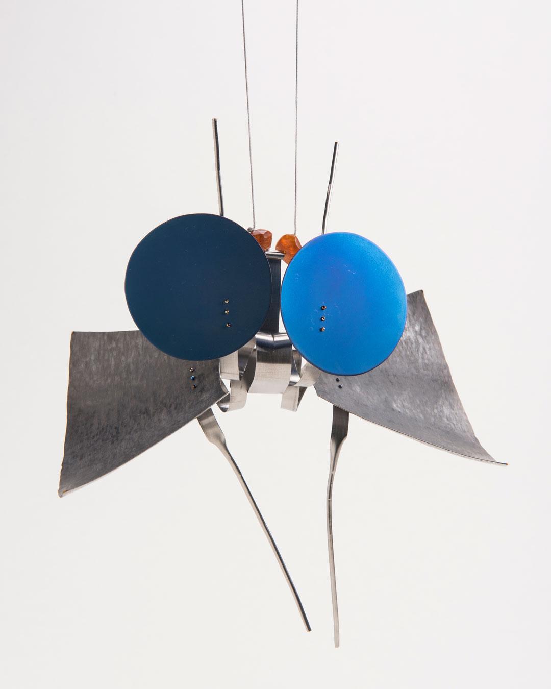 Andrea Wippermann, Eriocrania Semipurpurella, 2018, pendant; stainless steel, titanium, amber, nylon, blackened silver, 110 x 120 x 35 mm, €2450