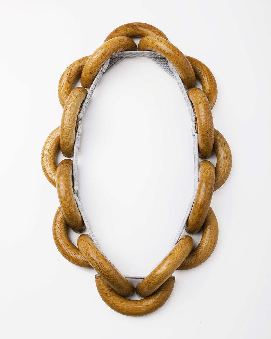Barbara Schrobenhauser, Vom Tragen und Halten III (From Carrying and Holding), 2018, necklace; used wooden handles, woven string, L 700 mm, €1650